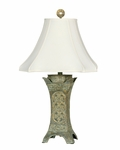 Ancient Coin 26''H Table Lamp with White Silk Shade - Verde Patina [07T548-FS-PAS]