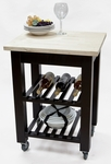 Thomas Butcher Block 23.62''W x 33.5''H Kitchen Cart with Locking Casters - Antique Black [2813KC-AB-FS-CCTCO]