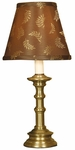 Miniature Elegance Antique Brass Candlestick 14.75''H Lamp with Brown Laurel Fabric Shade [10M906-FS-PAS]