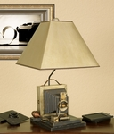 Vintage Mario Antique Camera 25.75''H Table Lamp with Silver and Gold Parchment Shade [12T922-FS-PAS]