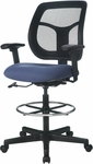Apollo 25'' W x 24'' D x 43.5'' H Adjustable Height Mid Back Mesh Back Drafting Stool - Fabrix [DFT9800-FAB-FS-EURO]