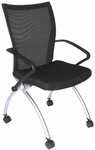 Apprentice 36''H Mesh Back Nesting Chair with Casters - Black [2109BK-REG]