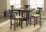 Arcadia 5 Piece Dining Set with Counter Height Table and 4 Slat Back Stools - Espresso [4180DTBSG-FS-HILL]