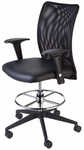 Argos High Back Adjustable Mesh Drafting Stool with Chrome Foot Ring - Black [CTM-5505-B-FS-CPL]