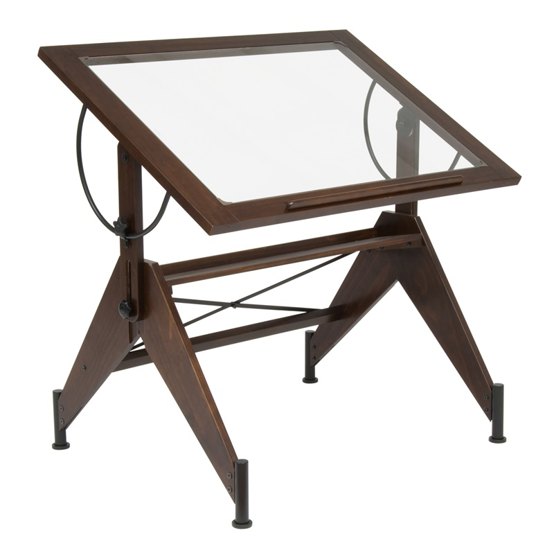Aries Clear Tempered Glass And Wood Drafting Table Dark
