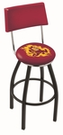 Arizona State University 25'' Black Wrinkle Finish Swivel Counter Height Stool with Cushioned Back [L8B425ARIZST-FS-HOB]