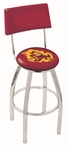 Arizona State University 25'' Chrome Finish Swivel Counter Height Stool with Cushioned Back [L8C425ARIZST-FS-HOB]