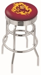 Arizona State University 25'' Chrome Finish Double Ring Swivel Backless Counter Height Stool with Ribbed Accent Ring [L7C3C25ARIZST-FS-HOB]
