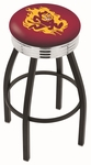 Arizona State University 25'' Black Wrinkle Finish Swivel Backless Counter Height Stool with Ribbed Accent Ring [L8B3C25ARIZST-FS-HOB]