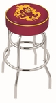 Arizona State University 25'' Chrome Finish Double Ring Swivel Backless Counter Height Stool with 4'' Thick Seat [L7C125ARIZST-FS-HOB]