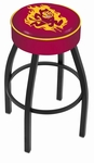 Arizona State University 25'' Black Wrinkle Finish Swivel Backless Counter Height Stool with 4'' Thick Seat [L8B125ARIZST-FS-HOB]