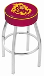 Arizona State University 25'' Chrome Finish Swivel Backless Counter Height Stool with 4'' Thick Seat [L8C125ARIZST-FS-HOB]