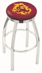 Arizona State University 25'' Chrome Finish Swivel Backless Counter Height Stool with Accent Ring [L8C2C25ARIZST-FS-HOB]