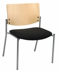 1300 Series Extra Wide Stacking Armless Guest Chair with Natural Wood Back - Grade 2 Upholstered Seat [WD1310SL-SP22-GR2-IFK]