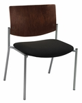 1300 Series Extra Wide Stacking Armless Guest Chair with Chocolate Wood Back - Grade 3 Upholstered Seat [WD1310SL-SP20-GR3-IFK]