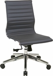 OSP Furniture Mid Back Armless Eco Leather Office Chair with Polished Base - Grey [73632-FS-OS]