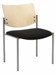 Armless Guest Stacking Chair-Grade 2 Upholstered Seat with a Natural Wood Back [1310SL-SP22-GR2-IFK]
