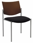 Armless Guest Stacking Chair-Grade 3 Upholstered Seat with a Chocolate Wood Back [1310SL-SP20-GR3-IFK]