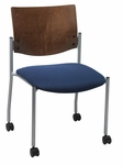 Armless Guest Stacking Chair with Casters-Grade 2 Upholstered Seat and a Chocolate Wood Back [CS1310SL-SP20-GR2-IFK]