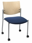 Armless Guest Stacking Chair with Casters-Grade 2 Upholstered Seat and a Natural Wood Back [CS1310SL-SP22-GR2-IFK]