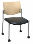 1300 Series Stacking Armless Guest Chair with Natural Wood Back and Casters - Vinyl Seat [CS1310SL-SP22-VINYL-IFK]