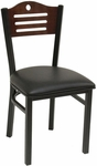 Armless Half Wood Back Dining Chair with Slotted Accents - Grade 4 Vinyl [77B-GR4-SAT]