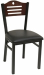Armless Half Wood Back Dining Chair with Slotted Accents - Grade 5 Vinyl [77B-GR5-SAT]