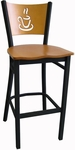 Wood Back with Cup Cutout Armless Metal Barstool - Natural Finish [72-BS-VS-N-SAT]
