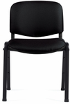 Armless Fabric Stack Chair with Black Frame - Black [OTG11704-QL10-FS-GLO]
