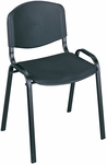 21.25'' W x 17.75'' D x 30.5'' H Contour Designed Armless Stack Chairs - Set of Four - Black with Black Base [4185BL-SAF]
