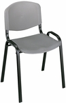 21.25'' W x 17.75'' D x 30.5'' H Contour Designed Armless Stack Chairs - Set of Four - Charcoal with Black Base [4185CH-SAF]