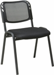 Work Smart Armless Stacking Chair with Mesh Screen Back - Set of 2 - Black [STC2020A2-3-OS]