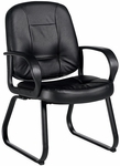 Arno QuickShip Genuine and Mock Leather Combo Armchair - Black [4004-450-550-FS-GLO]