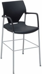 Arriva 40''H Steel Frame Stacking Counter Height Chair - Black Shell with Silver Grey Frame [AV-7-SG-PLBL-FS-ADI]