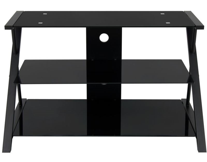 Artesia Tv Stand Black And Black Glass