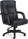 Arturo QuickShip Genuine and Mock Leather Combo High Back Tilter Chair - Black [3992-450-550-FS-GLO]