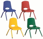 Set of Six 12''H Vented Back Matching Leg and Seat Stacking Chairs with Nylon Swivel Guides - Assorted Colors [ELR-15107-ASG-ECR]