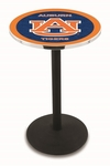 Auburn University 36''H Black Wrinkle Finish Counter Height Pub Table with Round Base [L214B36AUBURN-FS-HOB]