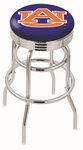Auburn University 25'' Chrome Finish Double Ring Swivel Backless Counter Height Stool with Ribbed Accent Ring [L7C3C25AUBURN-FS-HOB]
