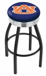 Auburn University 25'' Black Wrinkle Finish Swivel Backless Counter Height Stool with Ribbed Accent Ring [L8B3C25AUBURN-FS-HOB]