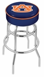 Auburn University 25'' Chrome Finish Double Ring Swivel Backless Counter Height Stool with 4'' Thick Seat [L7C125AUBURN-FS-HOB]