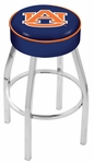 Auburn University 25'' Chrome Finish Swivel Backless Counter Height Stool with 4'' Thick Seat [L8C125AUBURN-FS-HOB]