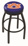 Auburn University 25'' Black Wrinkle Finish Swivel Backless Counter Height Stool with Accent Ring [L8B2B25AUBURN-FS-HOB]
