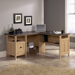 August Hill 59''W x 29''H Wooden L-Desk with Rosso Slate Style Top - Dover Oak [412320-FS-SRTA]