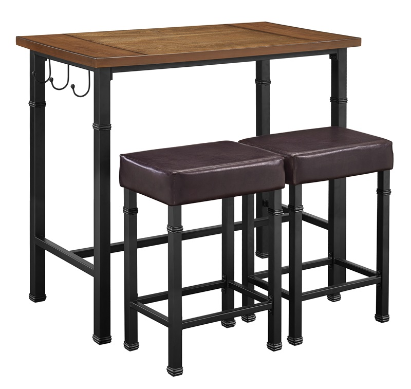 pub table set with backless upholstered counter height stools black