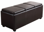 Avalon Extra Large Rectangular Brown Faux Leather Storage Ottoman with 3 Serving Trays [INT-AXCAVA-OTTBNCH-02-FS-SIH]