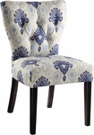 Ave Six Andrew Armless Fabric Chair with Solid Wood Legs - Medallion Ikat Blue [AND-M13-FS-OS]