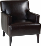 Ave Six Carrington Eco Leather Upholstered Arm Chair with Solid Wood Legs - Espresso [CAR51A-EBD-FS-OS]