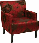 Ave Six Carrington Fabric Upholstered Arm Chair with Solid Wood Legs - Groovy Red [CAR51A-G14-FS-OS]