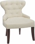 Ave Six Curves Hour Glass Velvet Accent Chair with Solid Wood Legs - Oyster [CVS26-X12-FS-OS]